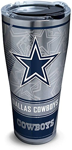 Tervis 1266717 NFL Dallas Cowboys Edge Stainless Steel Tumbler with Clear and Black Hammer Lid 30oz, Silver -