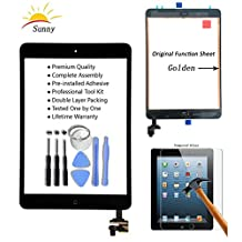 Sunny iPad Mini1/2 Touch Screen Digitizer Glass Assembly(Original Black) - Includes IC Chip Home Button Camera Holder Pre Installed Adhesive Stickers and Professional Tool Kit