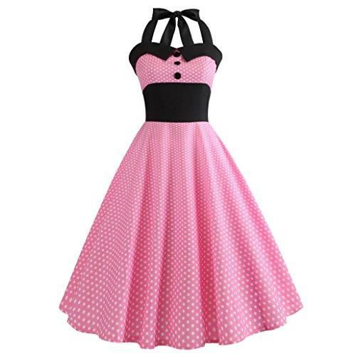 Women Dress Daoroka Sexy Vintage Halter Polka Dot Print Bodycon Sleeveless Casual Prom Swing Dress Summer A Line Pleated Evening Party Sundress (XL, Pink)