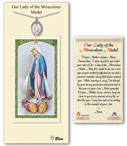 Pewter Miraculous Medal with Laminated Holy Prayer (Pewter Miraculous Medal)
