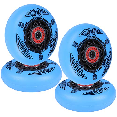 AOWISH 4-Pack Inline Skate Wheels Outdoor Asphalt Formula 90A Aggressive Inline Skates Replacement Wheel with Pre-Installed Bearings ABEC 9 (Blue, 76mm)
