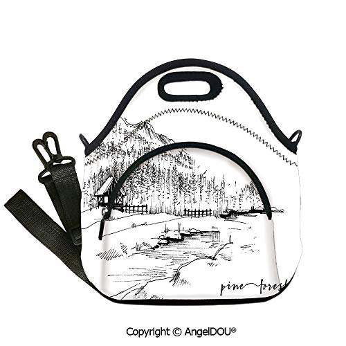AngelDOU Sketchy Lunch Bag with Adjustable Shoulder Strap View of Pine Forest by the Lake with Mountains in Rural Countryside Nature Scenery Decorative insulation cold portable o12.6x12.6x6.3(inch)
