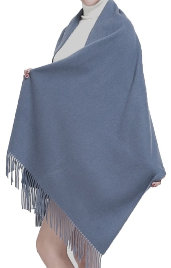 Cashmere Stole, Large Scarf, Shawl, Wrap, 100% Cashmere, Gorgeous and Natural, Model K0101 (Blue-Grey)