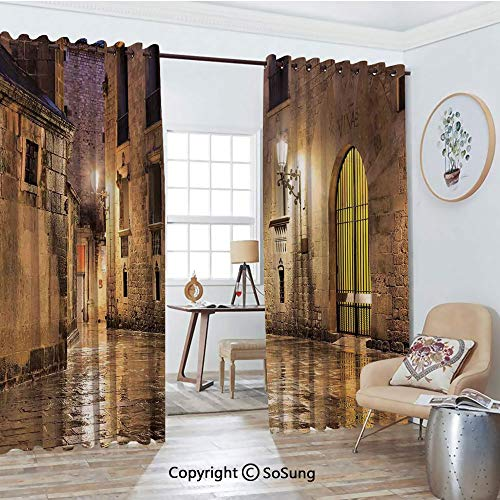 (Blackout Window Curtains,Gothic Ancient Stone Quarter of Barcelona Spain Renaissance Heritage Gothic Night Street Photo Living Room Bedroom Thermal Insulated Window Drapes 2 Panel Set, 54