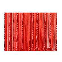 HONG Pair of Beaded String Curtain With Rod Processing Window Door Beauty Decorative Panel Room Divider Fly Screen Blind Tassel 1m x2m ,Red