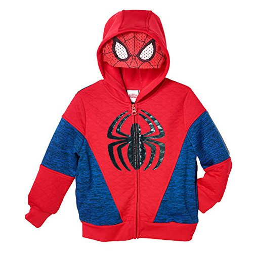 [Marvel Spider-Man Little Boys Toddler Fleece Zip Up Hoodie (4T)] (Spiderman Mask For Toddlers)