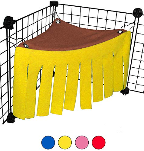 Guinea Pig Hidden Hammock, Pet Corner Fleece Forest Hideaway for Chinchilla Rabbit Bunny Rat Hedgehog Squirrel Ferret, Small Pet Guinea Pig Hideout Hideaway, Mini Hammock Hidden Pet Tent with Curtain