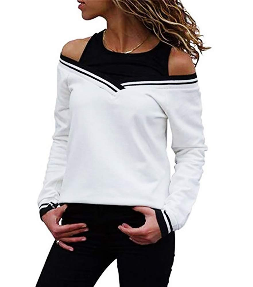 Off Shoulder Layered Look Long Sleeve T Shirt
