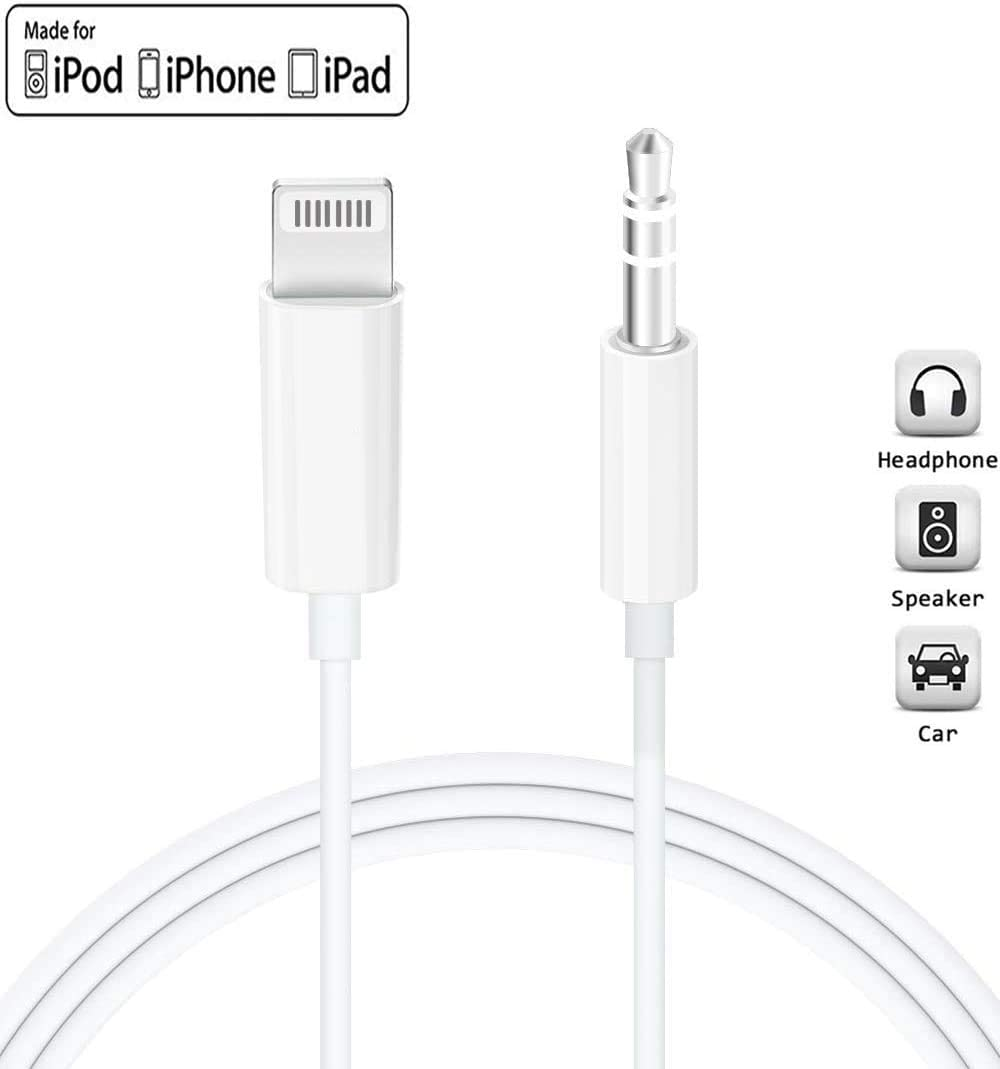 iPhone 8 7 6 Plus,for iPhone to Car Stereo//Speaker//Headphone 11//11 Pro Max XS XR X Audio Cable Lighting to 3.5mm Aux Cable Stereo Jack Headphone Adapter for iPhone iPad Compatible with iPhone SE