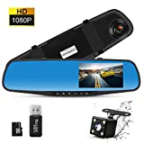 TSG 4.3 Inch Dual Lens Car Camera, Dash Cam Car Recorder with 170° Wide Angle Lens, HD 1080P Driving Recorder with Parking Monitor, G-Sensor & Motion Detection(Include 8G Micro SD Card)