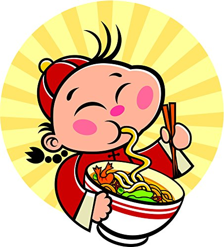 """Price comparison product image Cute Happy Asian Kid Eating Ramen Udon Noodles Cartoon Icon Vinyl Decal Sticker (8"""" Tall)"""