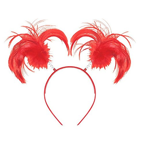 Feathers and Ponytails Headband Costume Party Headwear Accessory, Red, Plastic, 5