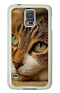 Samsung Galaxy S5 Green Cats Eye PC Custom Samsung Galaxy S5 Case Cover White