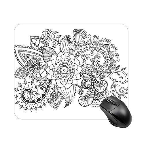 FGN Mouse Pad Fantasy Flowers Coloring Page Mousepad Non-Slip Rubber Gaming Mouse Pad Rectangle Mouse Pads for Computers Laptop