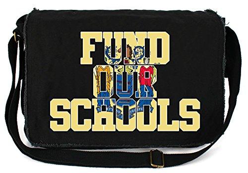 Tenacitee Fund our New Jersey Schools Black Raw Edge Canvas Messenger (Black Jersey Messenger Bag)