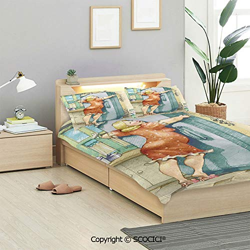 SCOCICI Funny Bedding Sets 3 Pieces(1 Duvet Cover 2 Pillow Shams) A Plump Woman Embracing The Fridge with Passion Stress Eating Diet Calories Theme Duvet Cover Sets for Kids/Twin/Single All Seasons