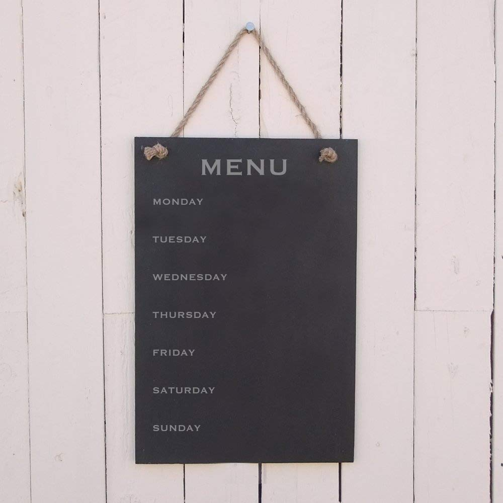 Slate Hanging Notice Board 'Menu' (with the days of the week down the side) The Slate Range