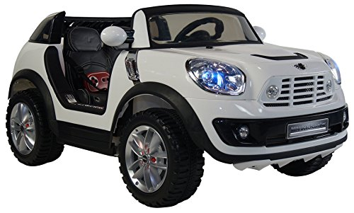 Licensed-Mini-Cooper-Two-Seater-Premium-Ride-On-Electric-Toy-Car-For-Kids-12V-Battery-Powered-Leather-Seats-LED-Lights-MP3-RC-Parental-Remote-Controller-Suitable-For-Boys-Girls-White