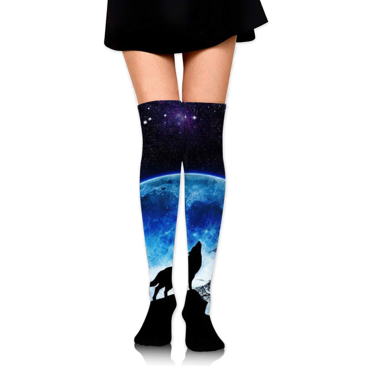 Women Crew Socks Thigh High Knee Wolf Moonlight Long Tube Dress Legging Sport Compression Stocking