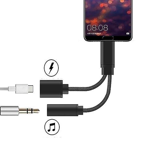 Jack USB Tipo C, AD ADTRIP Adaptador USB C Jack 2 en 1 USB C Audio Carga Adaptador Compatible con Huawei P20 Pro/P30 Pro, Mate 20 Pro, Xiaomi Mi ...