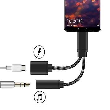 Jack USB C, Adaptador USB C Audio Jack Tipo C Aux USB C 3.5mm Adaptador Compatible con Huawei P20 / P20 Pro / P30 Pro/Mate 10 Pro/Mate 20 Pro, Mi A2 / ...