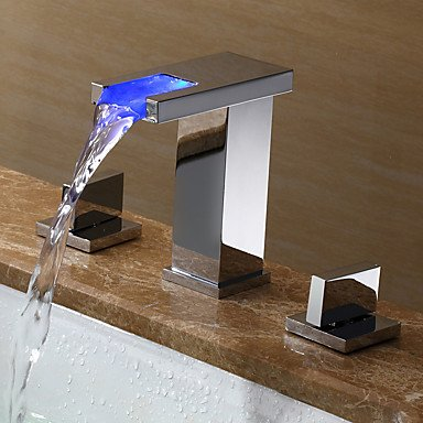 √Modern Widespread LED / Widespread with Ceramic Valve Two Handles Three Holes for Chrome Bathtub by FAUCET&YAMEIJIA