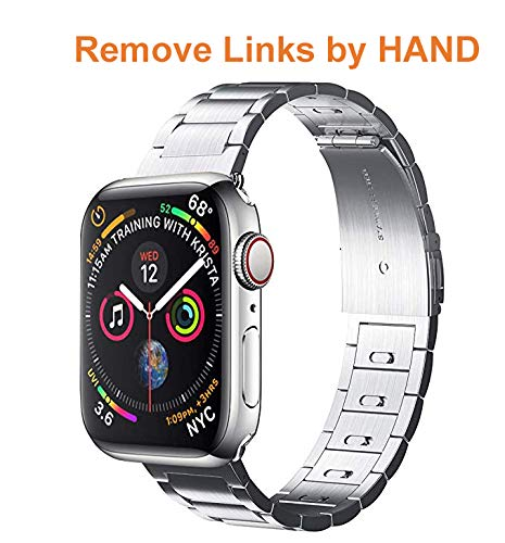 EloBeth iWatch Band 40mm 38mm Men, Stainless Steel Band Metal Clasp(Move Links by Hand) + Adapter Compatible with Apple Watch Series 4/3/2/1 (Silver 40/38mm)