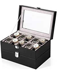 Watches Box Amzdeal Watch Case 20 Grid Double Layer Watch Storage Holder Glass Lid Leather watch Jewelry Display Collector for Men and Women