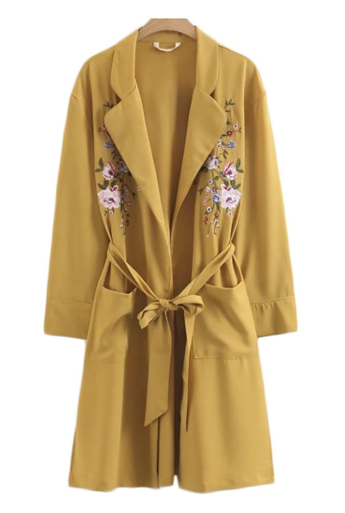 QZUnique Women's Fashion Embroidery Long Sleeve Loose Soft Elegant Open Front Kimono Cardigan Casual Coverup Coat Yellow S