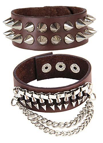 (Xusamss Hip Hop Alloy Rivet Bullet Chain Leather Bracelet Bangle Two Set,7 1/2 Wrist)