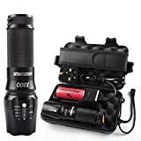 Torches LED Super Bright,Shadowhawk X800 LED Military Grade Torch with Rechargeable Battery Tactical Flashlight kit,1300 Lumens 26650 Torch LED Powerful,Warranty for Two Yea