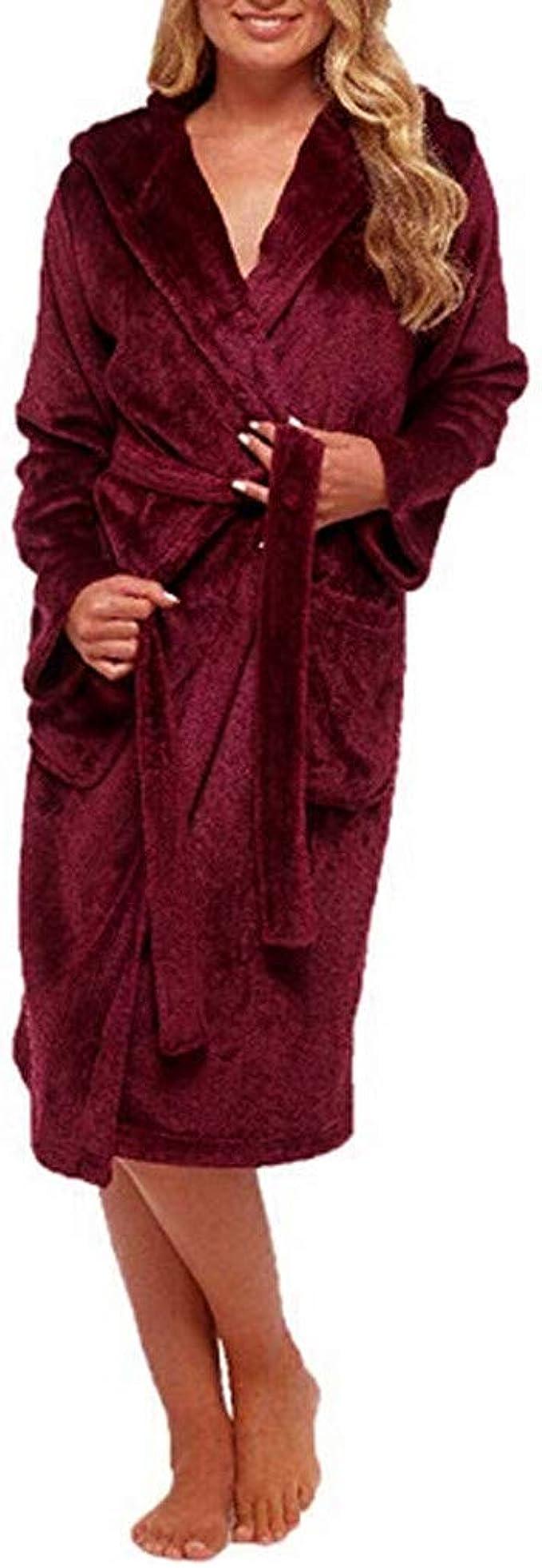 Westkun Unisexe Peignoir Long Robe de Chambre en Peluche Polaire /à Capuche Pyjama Complet Zipp/ée Manteaux V/êtements de Nuit pour Les Femmes /& Hommes-Cadeau Parfait
