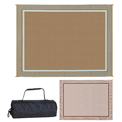 Reversible Mats 9-Feet x 12-Feet Outdoor RV Mat Double Border Brown/Beige Patio Mat