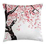 Ambesonne Floral Decor Throw Pillow Cushion Cover, Japanese Cherry Tree Blossom Watercolor Painting Effect Oriental Style Print, Decorative Square Accent Pillow Case, 18 X 18 Inches, Black Pink