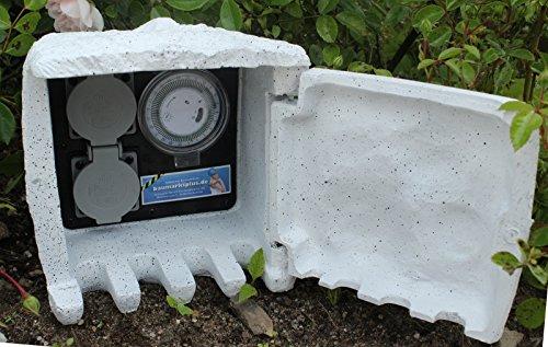 Außensteckdose Stein 5m Steckdose Zeitschaltuhr Gartensteckdose Steinsteckdose