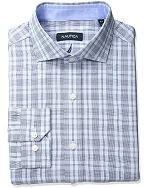 Men's Check Cutaway Collar Dress Shirt