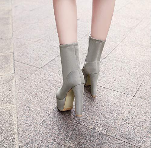 Bottes de HCBYJ Talons Chaussures Bottines 14cm Talons discothèque Fermeture hauts Hauts et éclair Plateforme Mode Grande Femme P7dr7qw