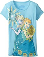 Disney Girls'  Frozen Cast Bubble Sleeve Tee