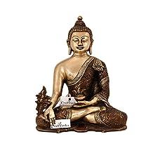 CraftVatika 10 Inches Large Medicine Buddha Brass Idol Statue | Tibetan Feng Shui Buddhism Sculpture Home Decor Gift