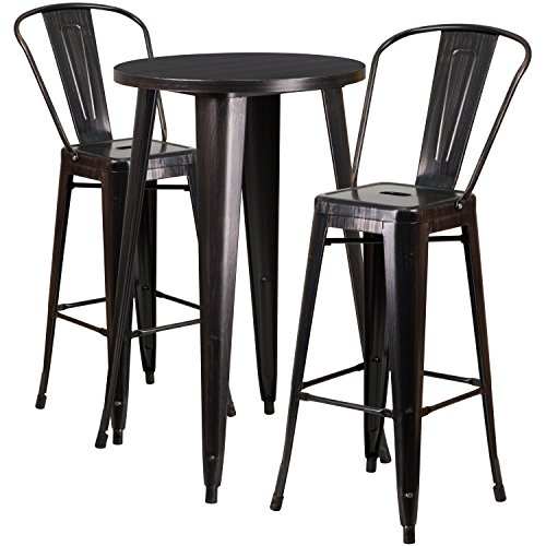 Flash Furniture 24'' Round Black-Antique Gold Metal Indoor-Outdoor Bar Table Set with 2 Cafe Stools - Antique Round Table Set