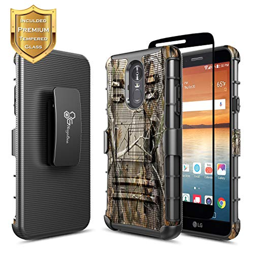 (LG Stylo 4 Case, LG Stylo 4+ Plus/LG Q Stylus with Tempered Glass Screen Protector (Full Coverage), NageBee Belt Clip Holster Heavy Duty Armor Shockproof Kickstand Rugged Durable Combo Case -Camo)