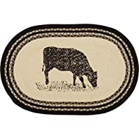 VHC Brands 38028 Classic Country Farmhouse Flooring-Sawyer Mill White Oval Jute Rug, One Size, Cow