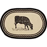 VHC Brands 38028 Classic Country Farmhouse Flooring - Sawyer Mill White Oval Jute Rug, 20 x 30, Cow