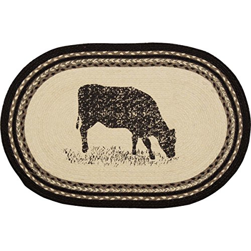 VHC Brands 38028 Farmhouse Flooring Miller Farm Charcoal Cow Jute Stenciled Nature Print Oval Rug, One Size, Bleached White
