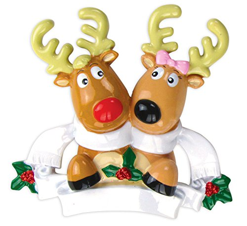 (PERSONALIZED CHRISTMAS ORNAMENTS FAMILY SERIES-REINDEER COUPLE W/SCARVES)