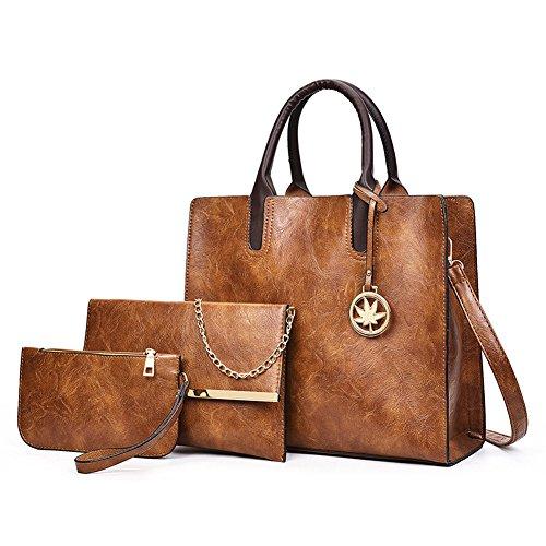 Lemon▪Tree Designer Purses Sets for Women Brown Handbags 3pcs Leather Satchel Tote Shoulder Bag (Brown) by Lemon▪Tree