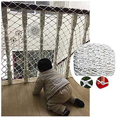 ZGQSW Escalera Red Anticaída, Cuerda de Nylon Blanca Red Tejida, For Cat Net Red de Seguridad for Niños Red Protectora for Bebés Red de Valla, Fácil de Instalar, Incluyendo Cable de Amarre