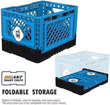 32L Plastic Folding Stackable Storage Crates BLUE 47.5X35X23.6CM Set of 2