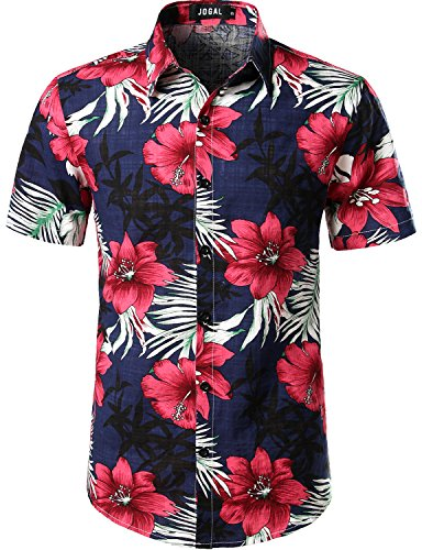 JOGAL Men's Flower Casual Button Down Short Sleeve Hawaiian Shirt Large A334 Navy