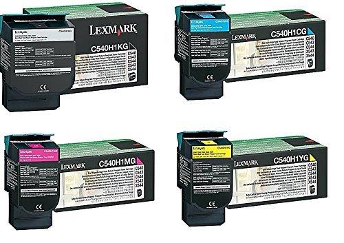 X543dn Color Laser - Lexmark Part# C540H1KG. C540H1CG. C540H1MG. C540H1YG Toner Cartridge Set (OEM)